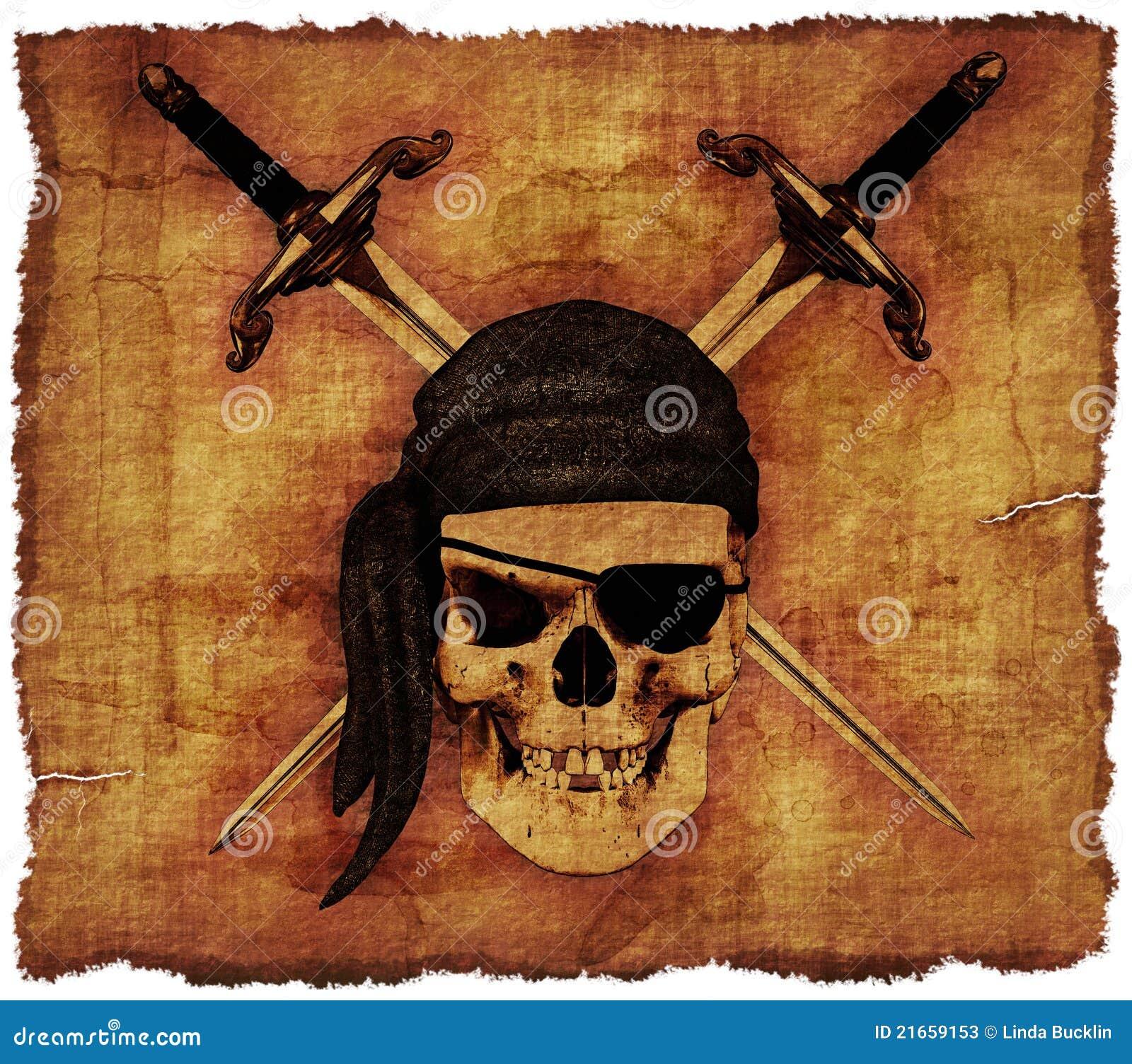 Gammal parchment piratkopierar skallen