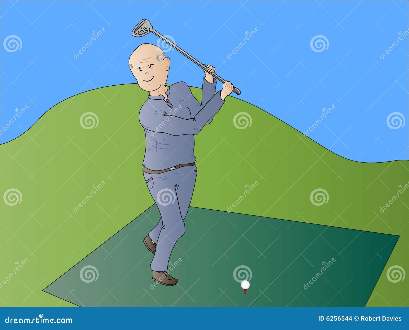 Gammal pensionär för medborgaregolfspelman