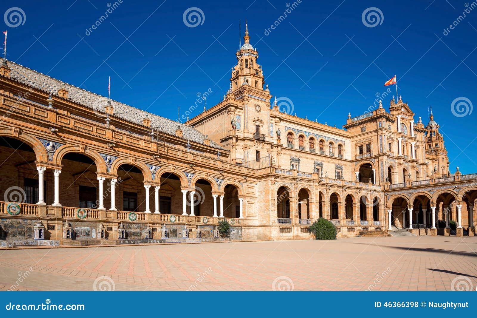 Gammal plaza sevilla spain stad de espana för berömd landmark