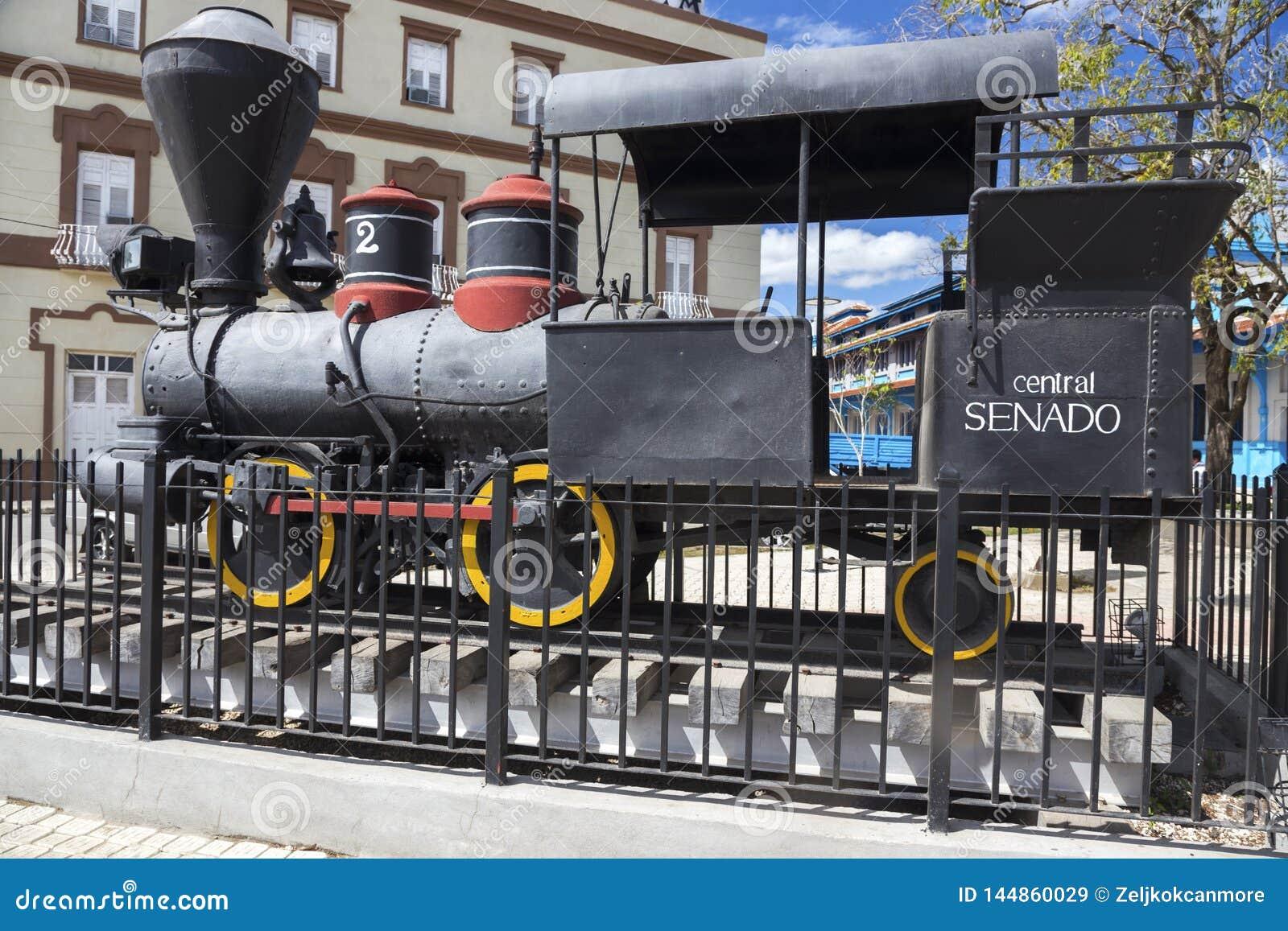 Gammal rörlig för Exhibit Outdoor Rail för modell för järnvägångamotor Camaguey museum Kuba
