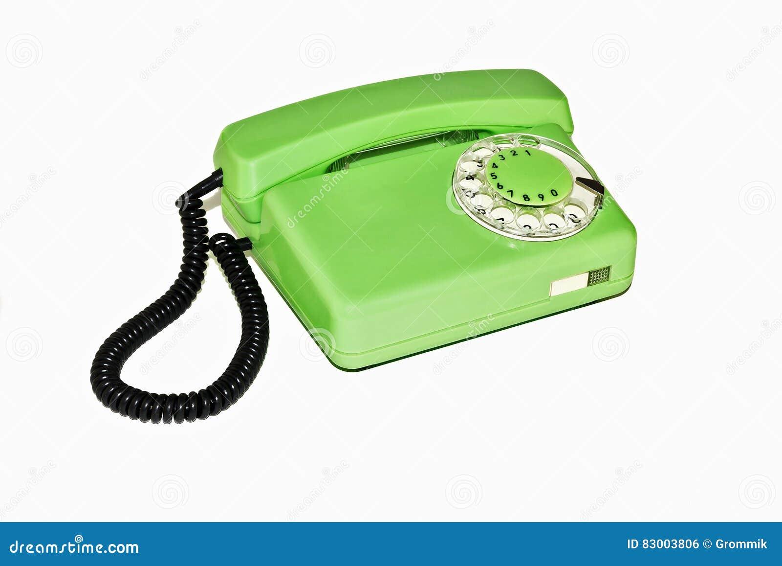 Gammal retro telefon med den roterande visartavlan