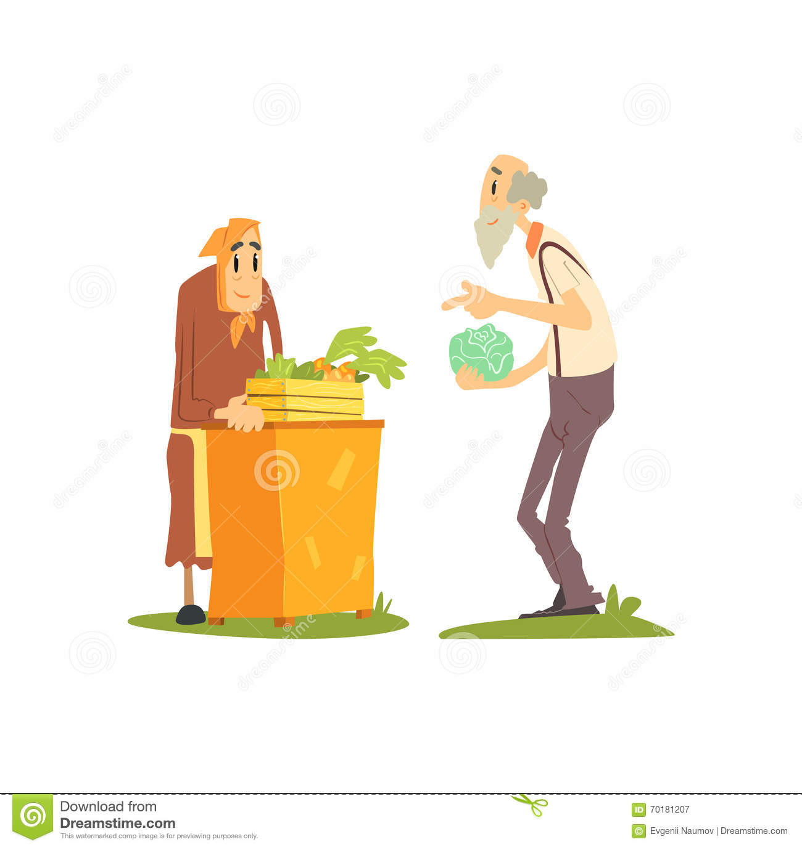 Gammal säljande grönsakkvinna