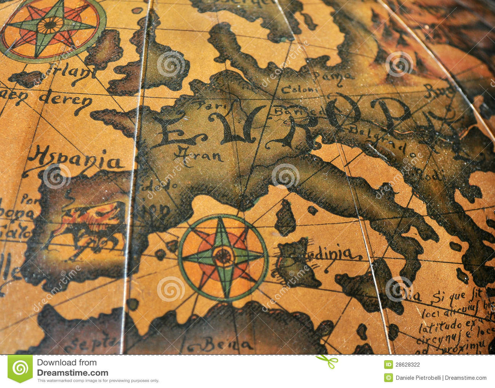 Gammal sepia Europa kartlägger