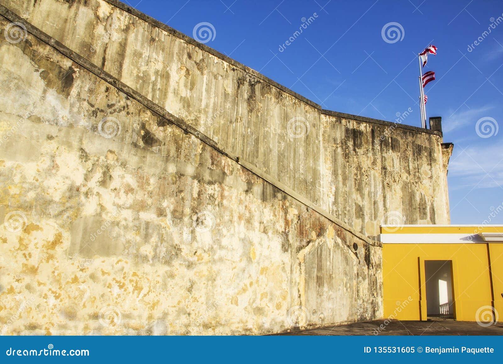 Gammal slott i San Juan Puerto Rico