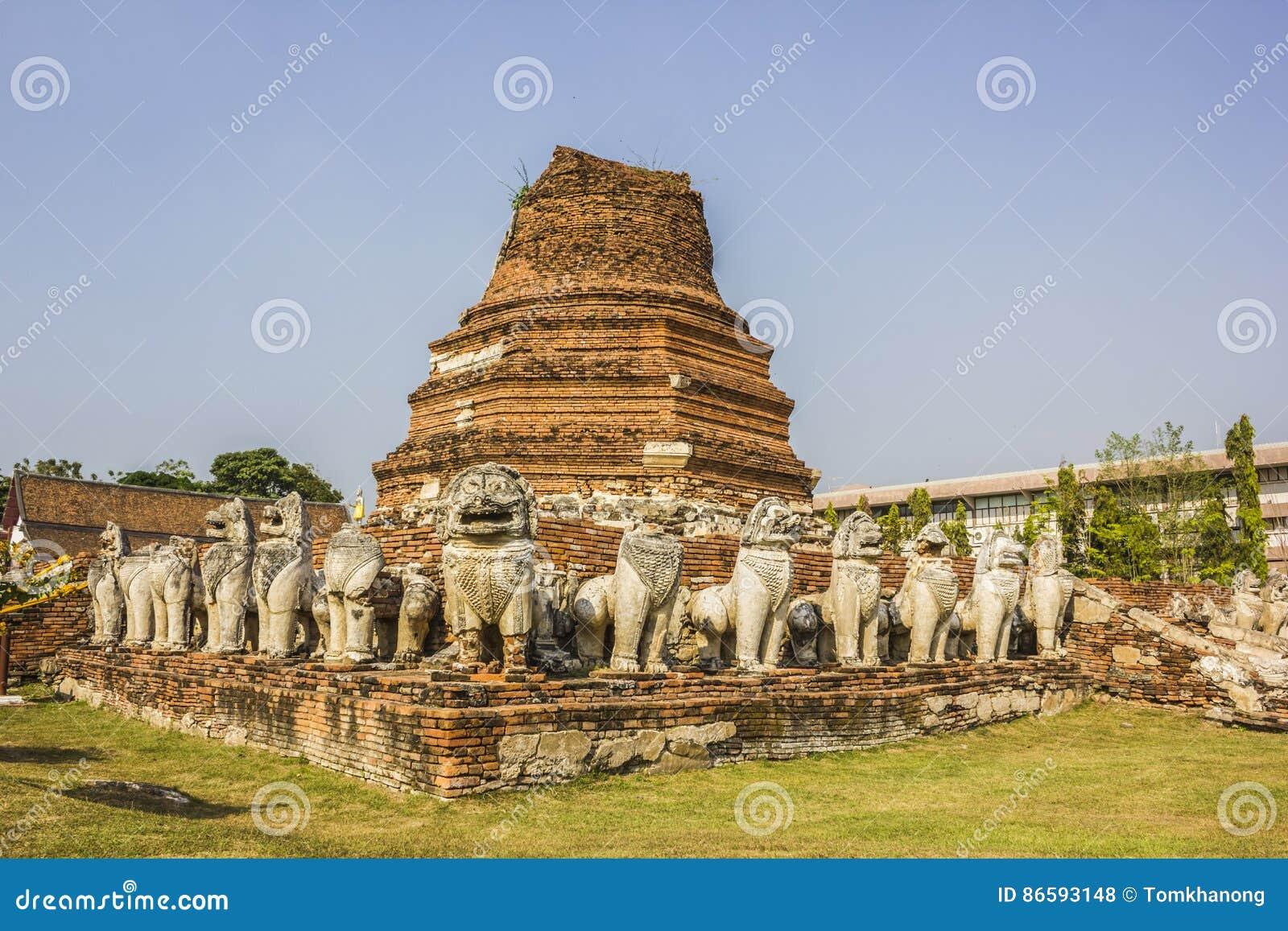 Gammal stad av den Ayutthaya staden i Thailand
