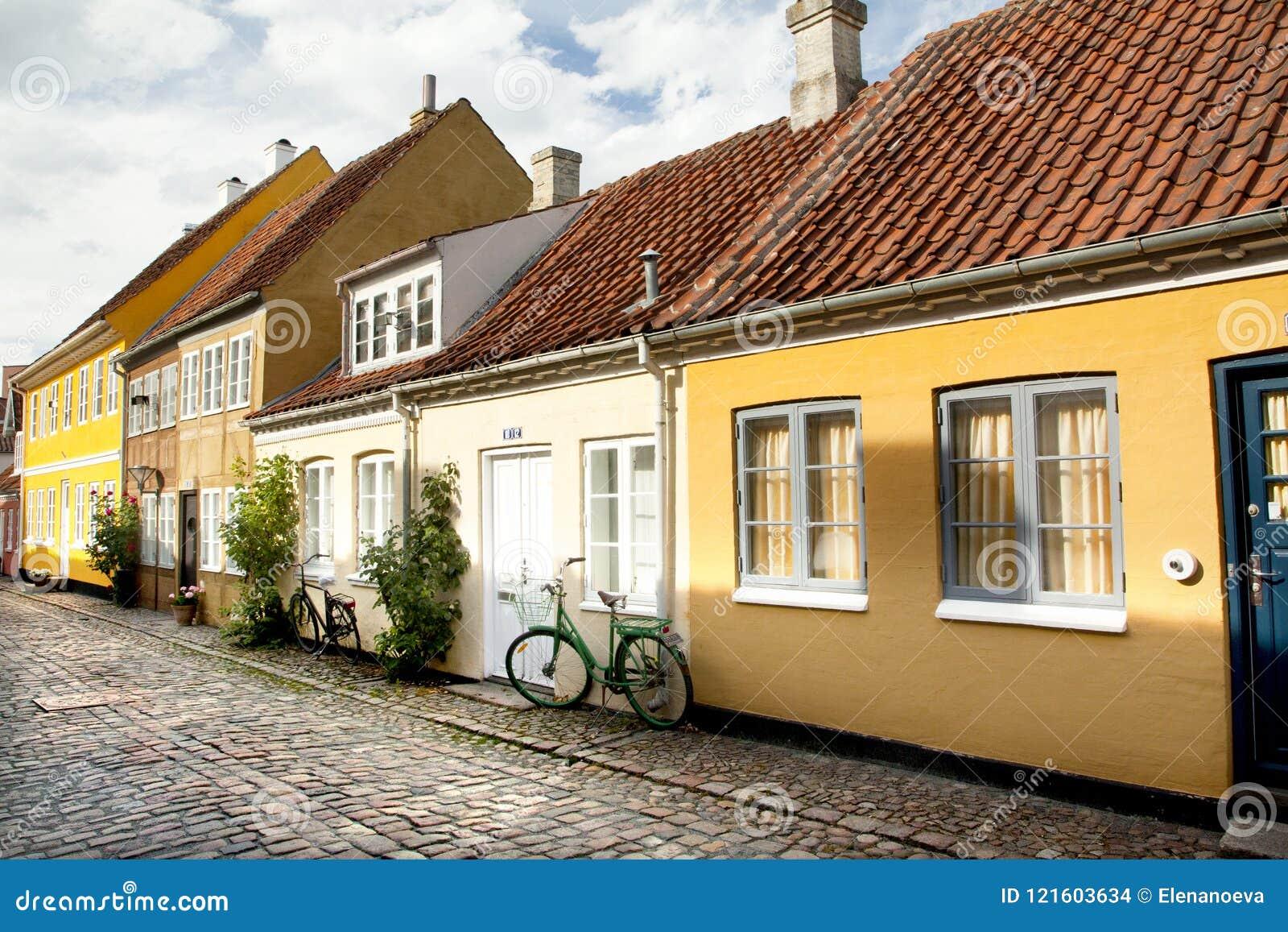 Gammal stad av Odense, Danmark