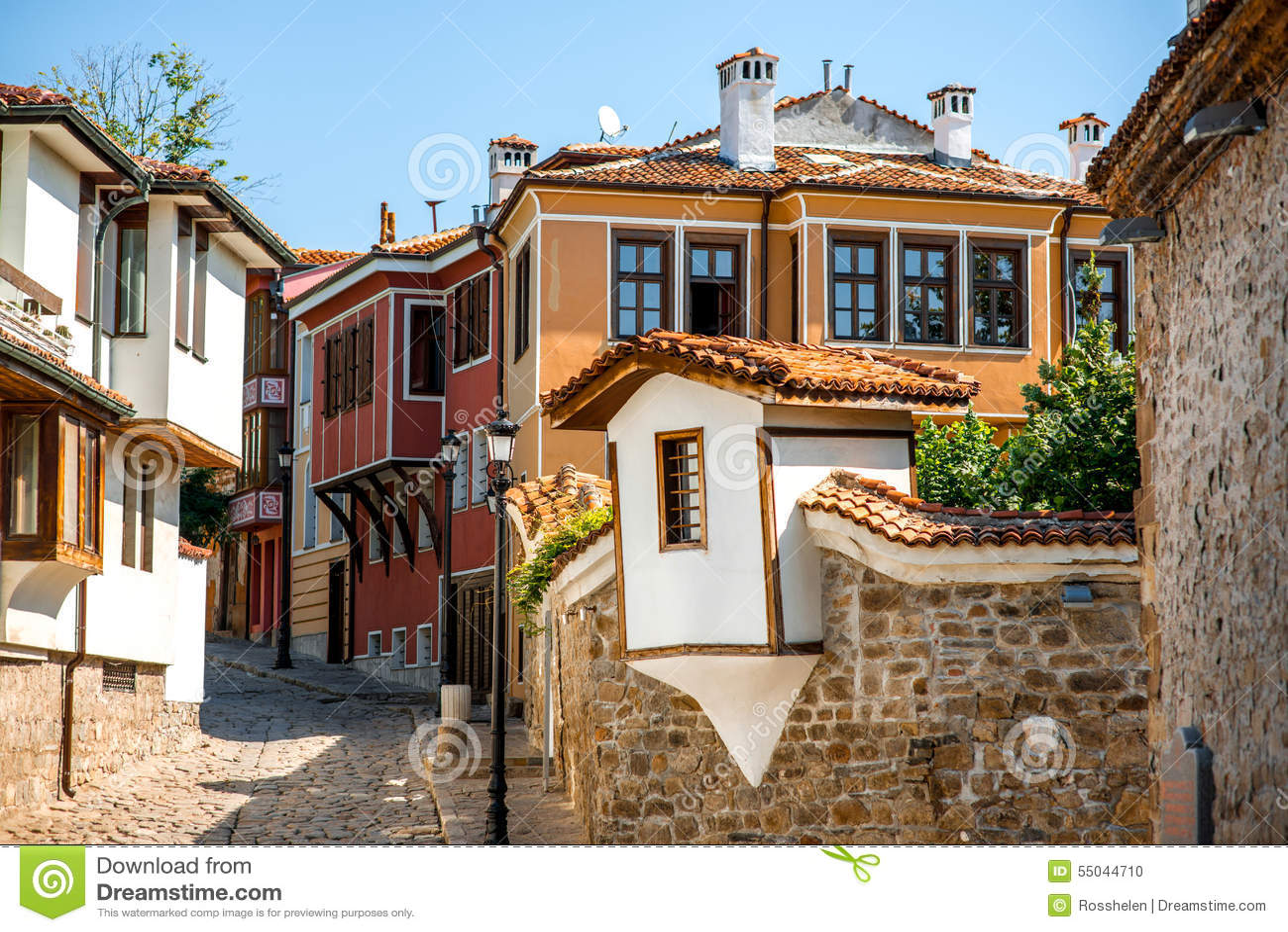 Gammal stadsgatasikt i Plovdiv