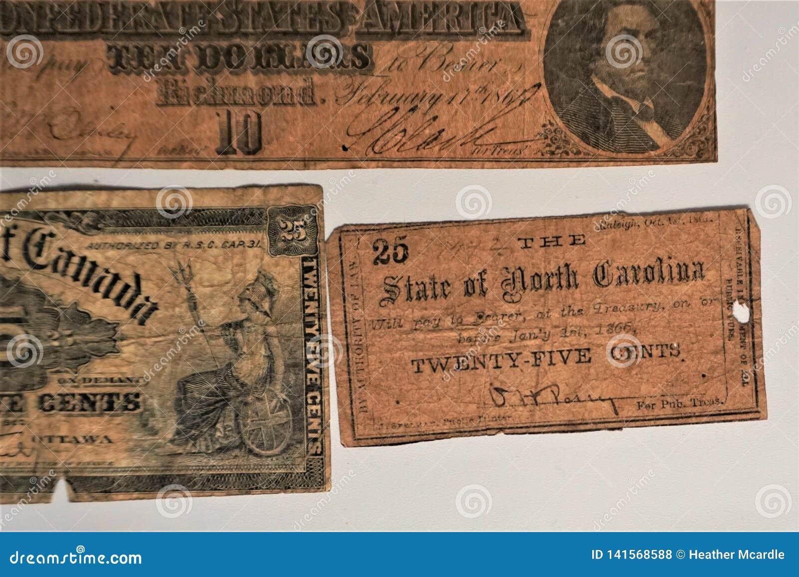 Gammal stat för pappers- pengar av North Carolina 1866