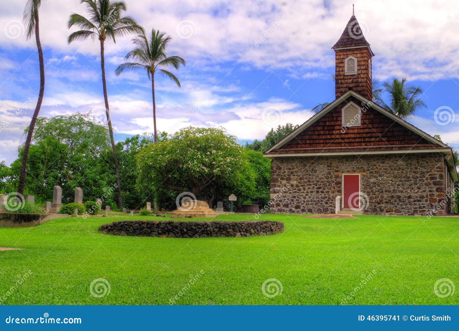 Gammal stenkyrka i Maui, Hawaii