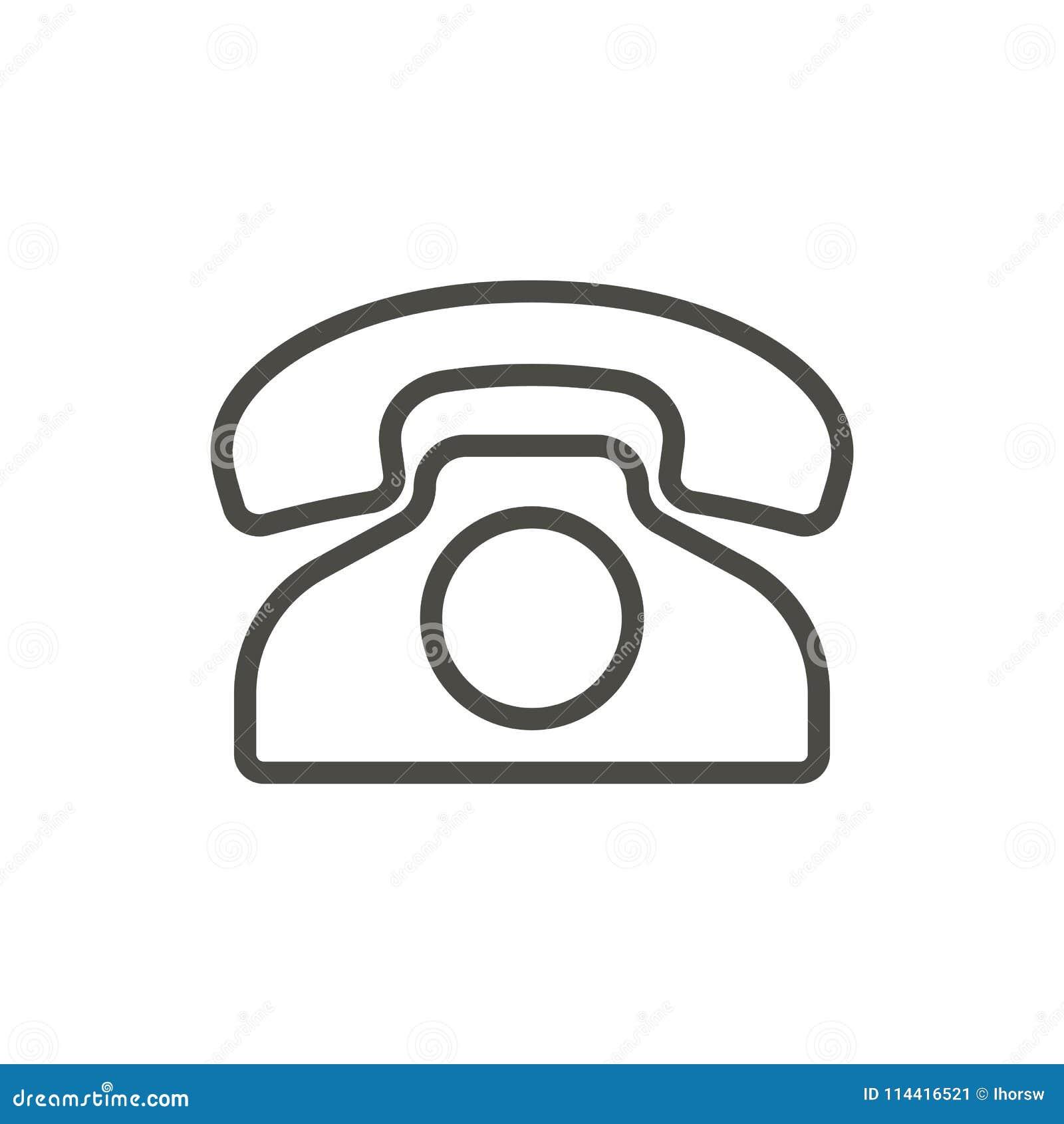 Gammal telefonsymbolsvektor Översiktstelefon Linje tappningtelefonsym
