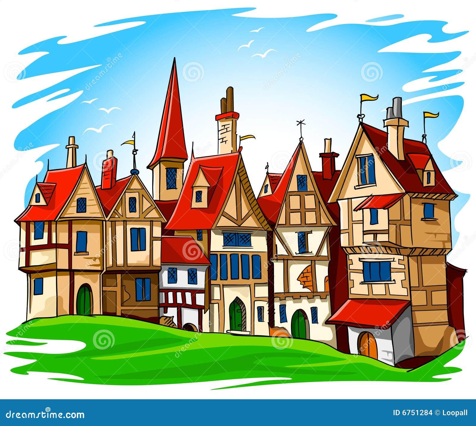 Gammal townvektor för europeisk illustration