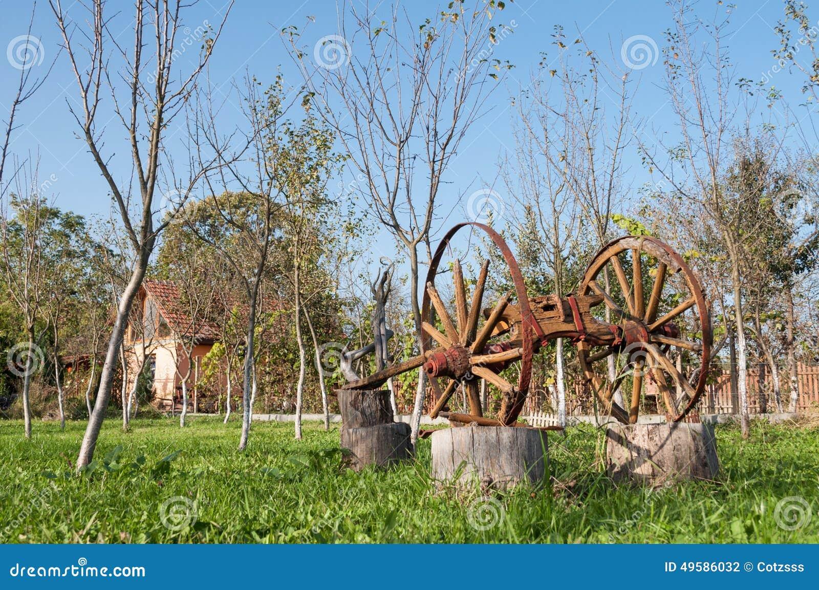 Gammal träplog i en fruktträdgård arkivfoto   bild: 49586032