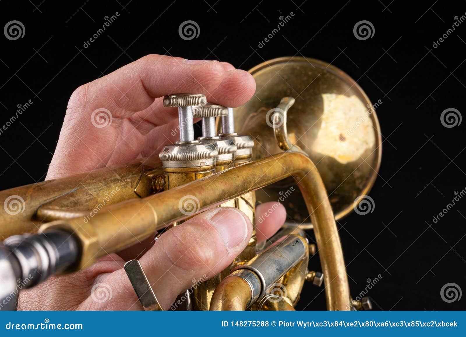 Gammal trumpet p? en m?rk tr?tabell Bl?sinstrument i den gamla stilen