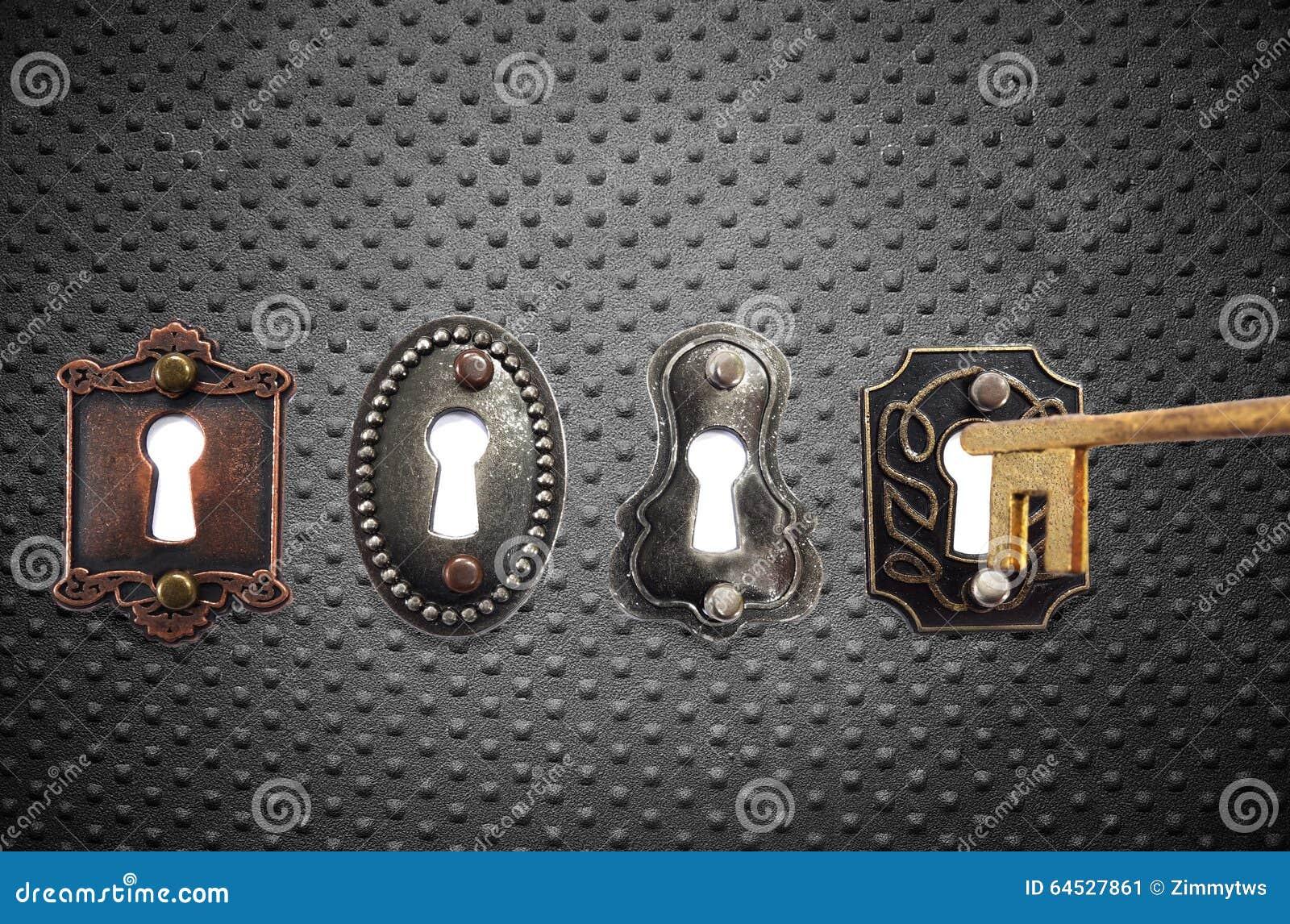Gammalmodiga lås och guldtangent
