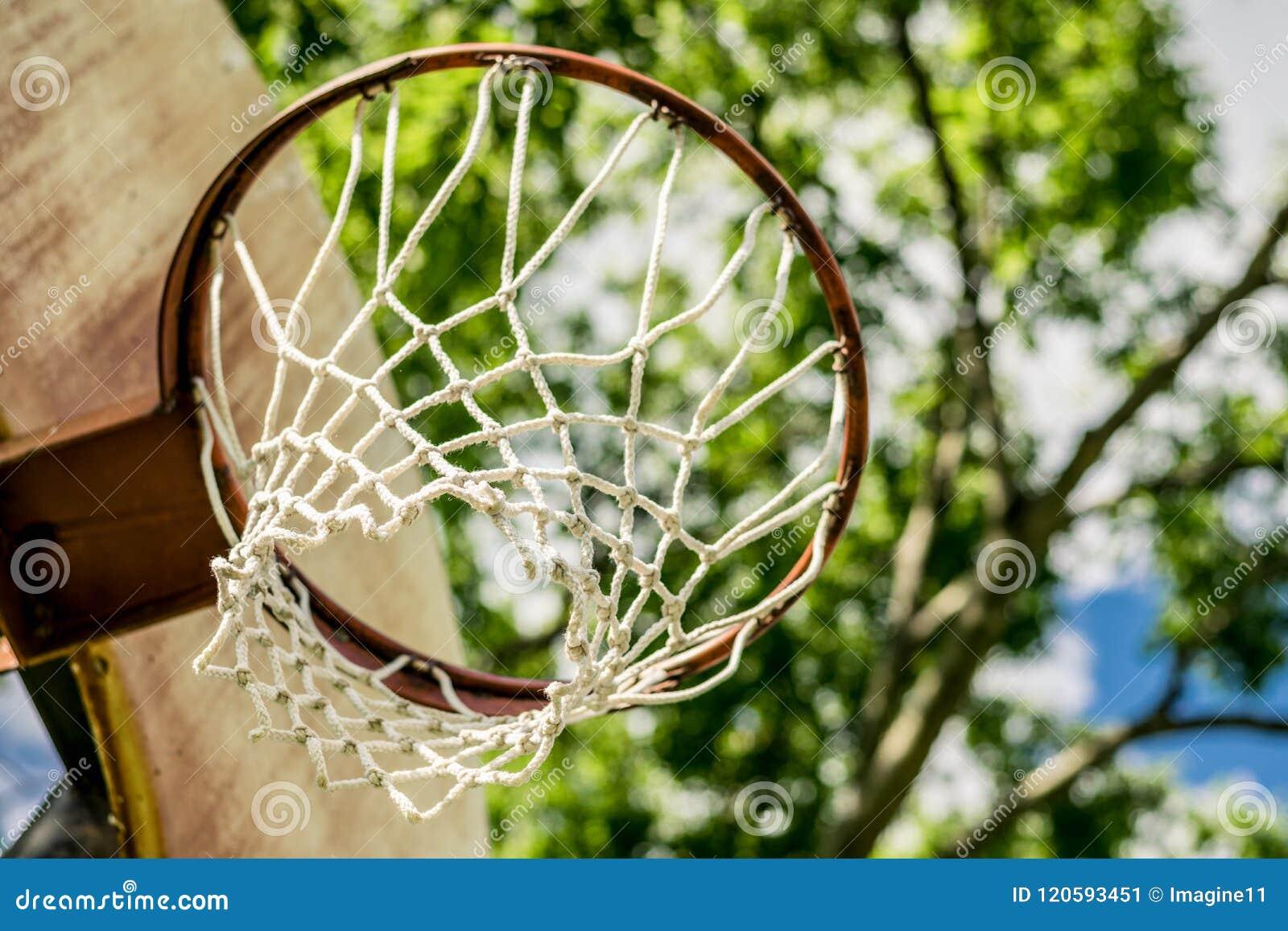 Gammalt basketbeslag mot en bakgrund av träd