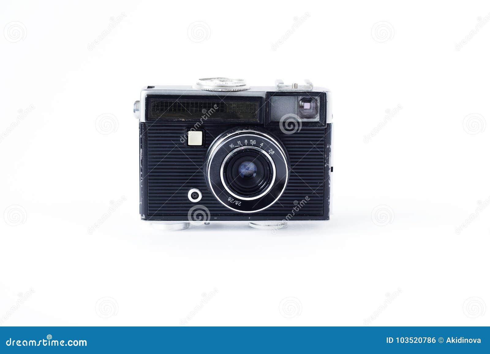 Gammalt filma kameran Vit bakgrundsnärbild för fotostruktur för abstrakt bakgrund homogen tappning