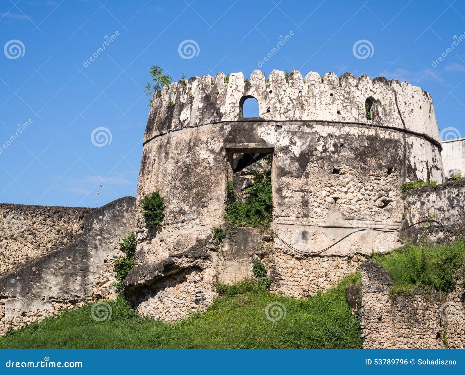 Gammalt fort (Ngome Kongwe) i stenstaden, Zanzibar