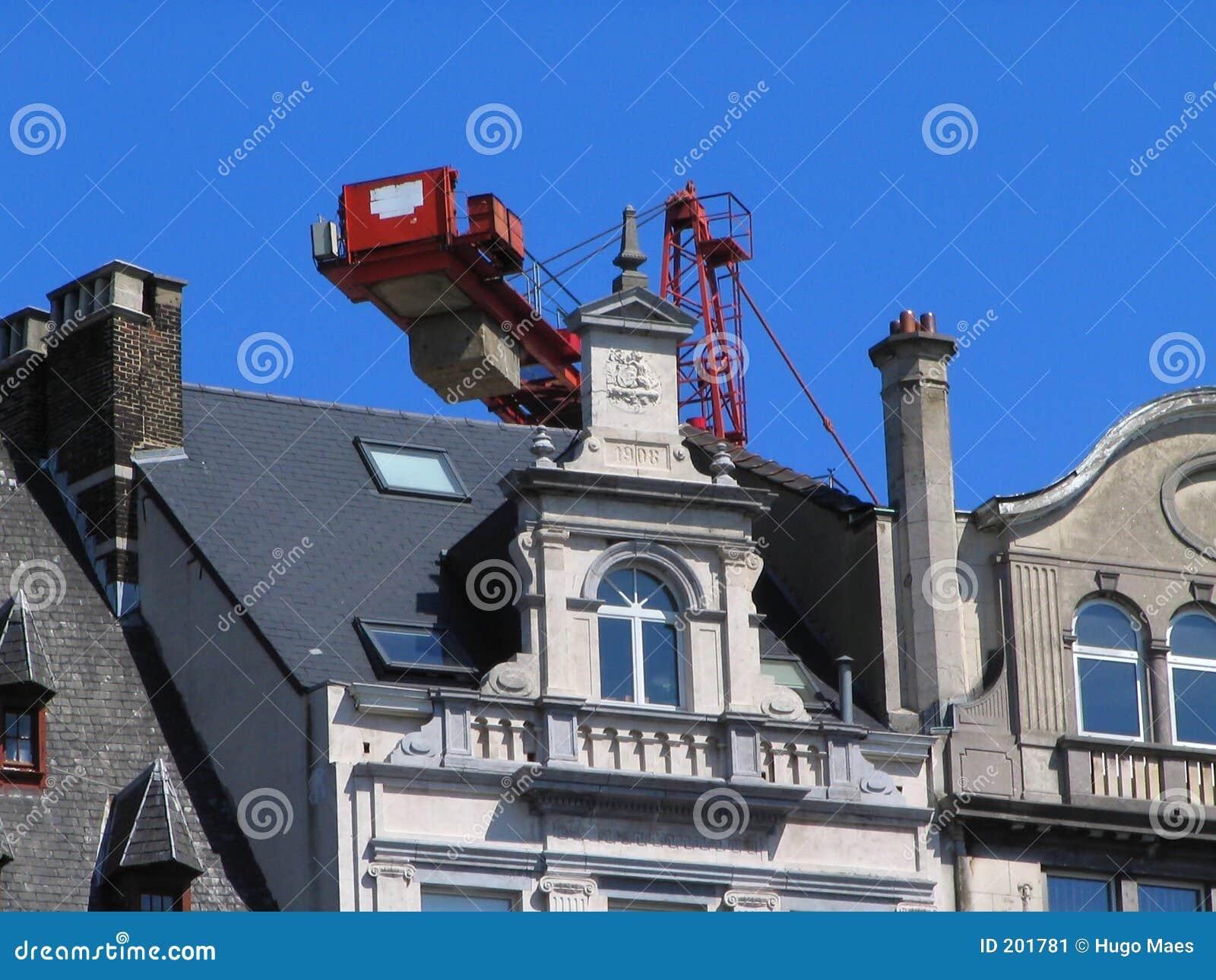 Gammalt hus för framdel för facade för brussels krandowtown