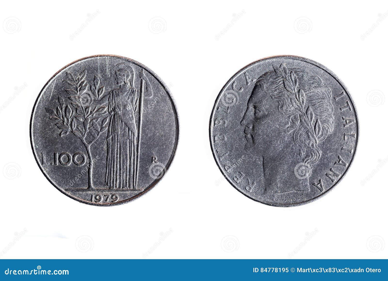 Gammalt 100 lira italienskt mynt