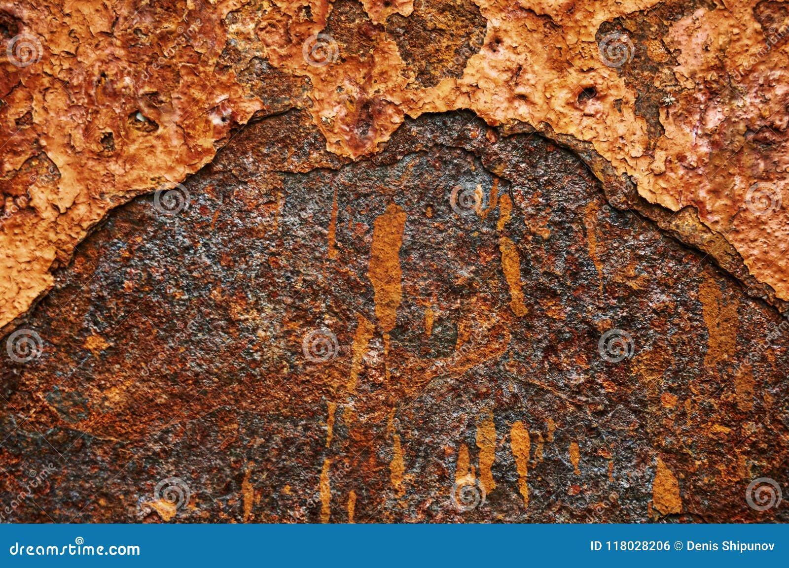 Gammalt metallark av järn med rostabstrakt begreppbakgrund