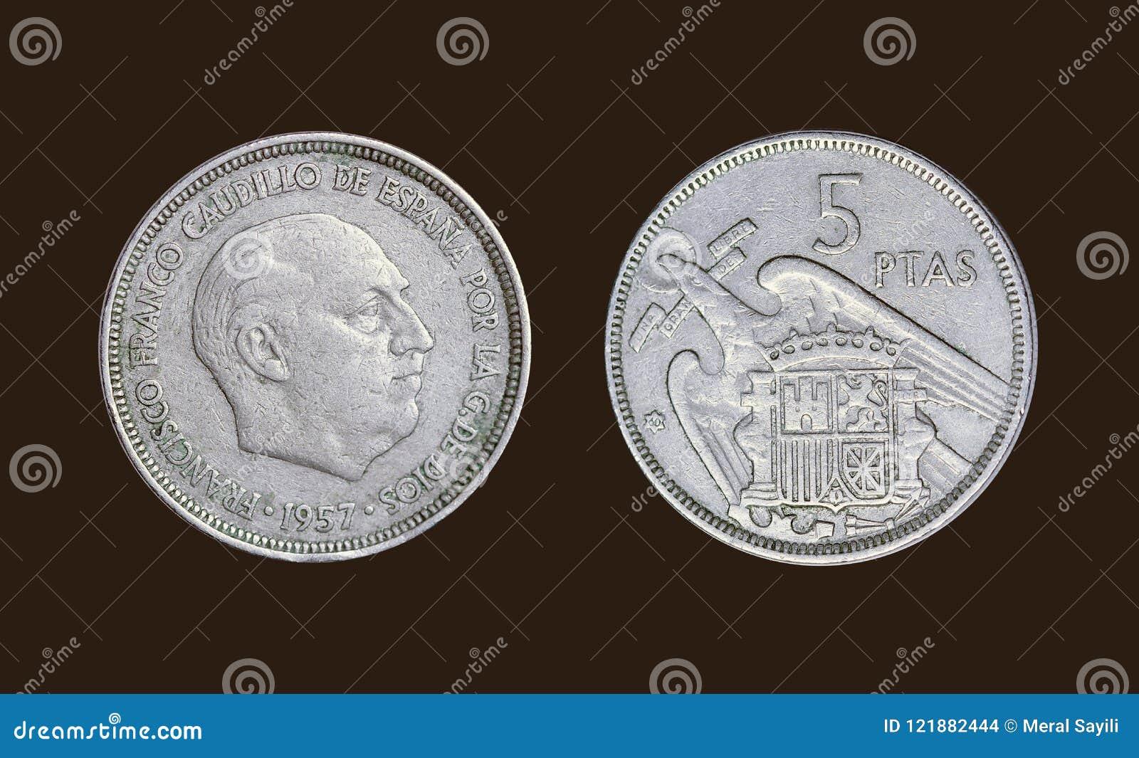 Gammalt mynt i det Spanien året 1957