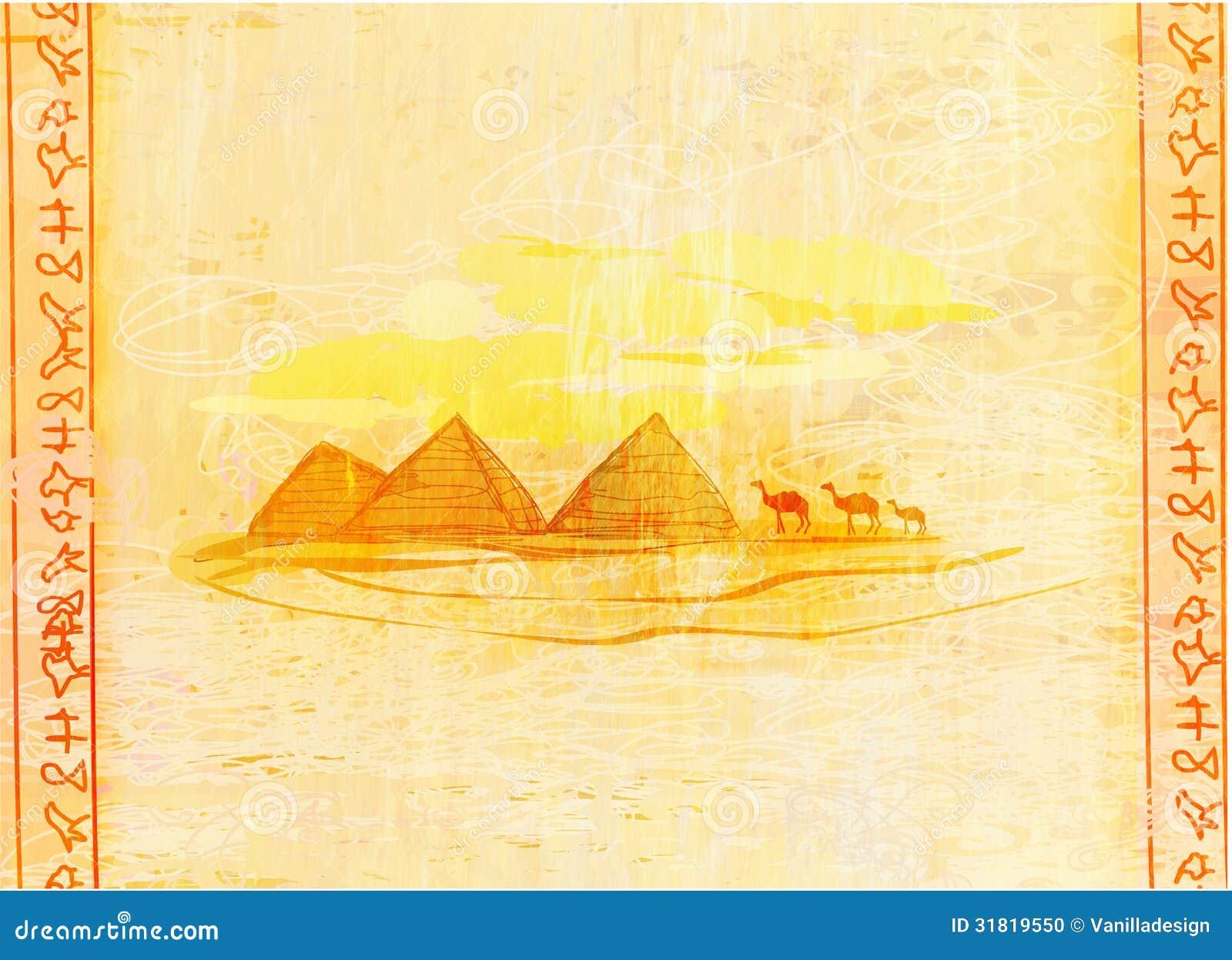 Gammalt papper med pyramider