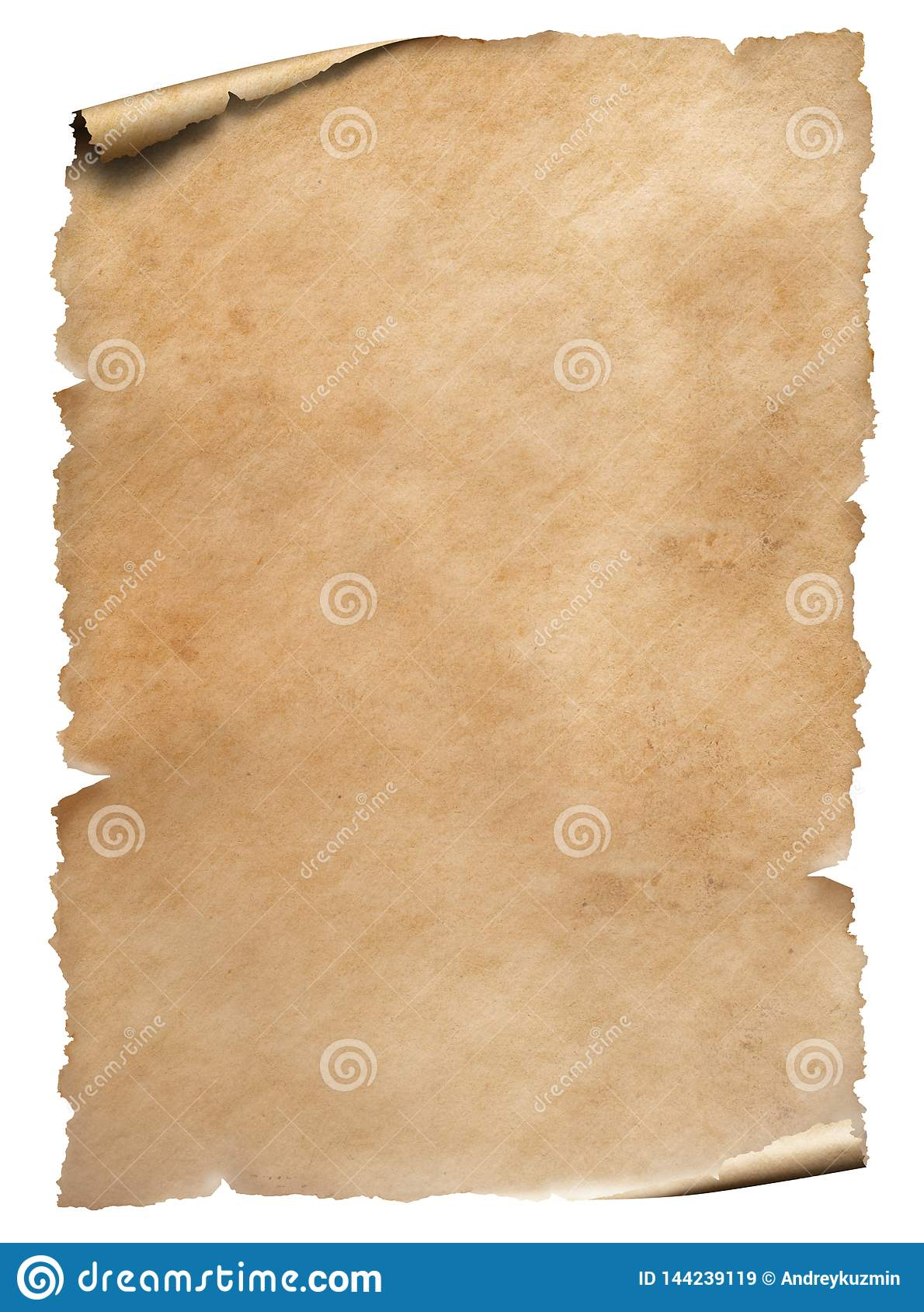 Gammalt slitet pappers- ark som isoleras p? vit