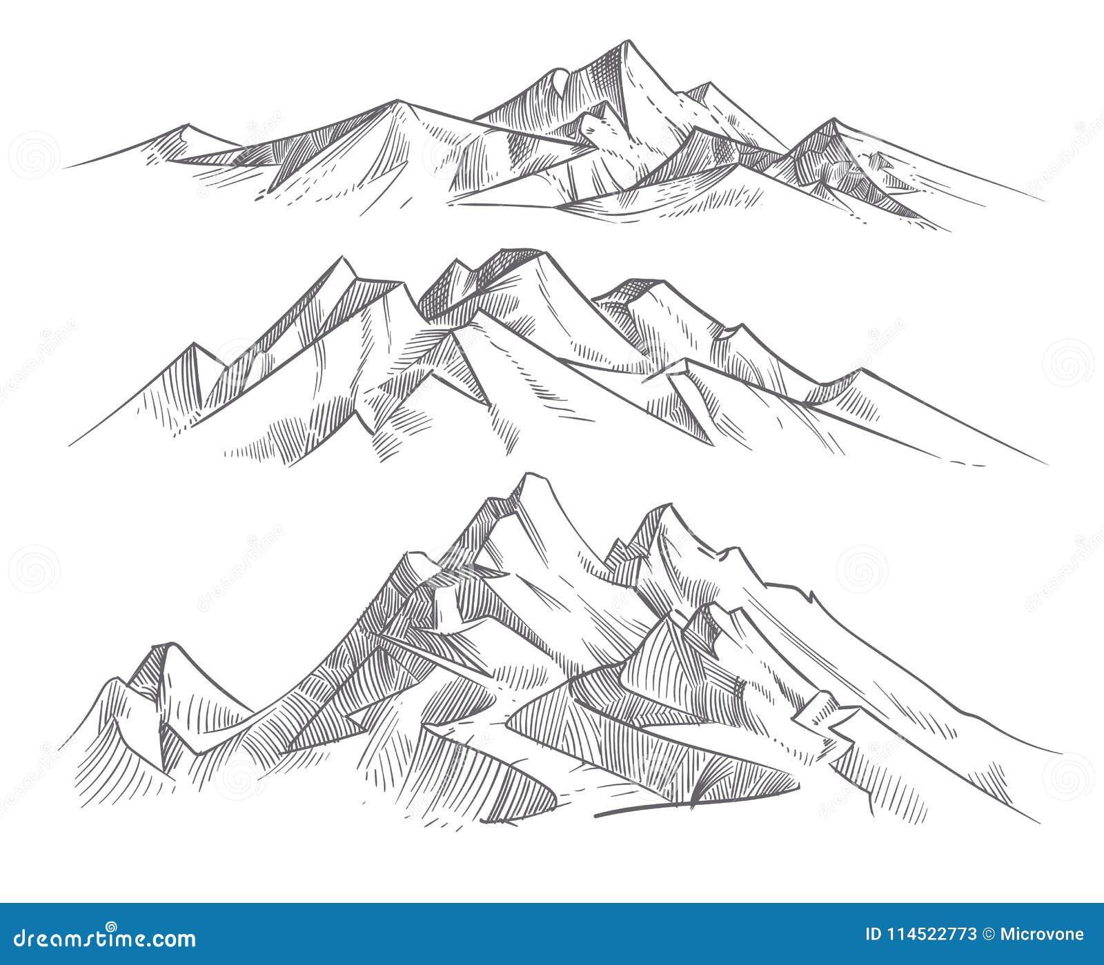 Gammes de montagne de dessin de main dans le style de - Dessin de nature ...
