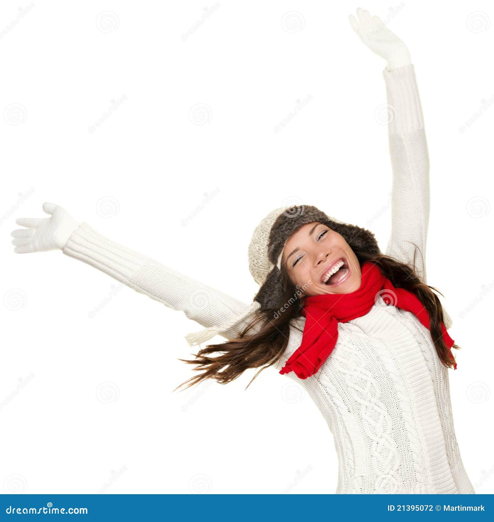 Ganador de la mujer de la diversión del invierno y concepto del éxito