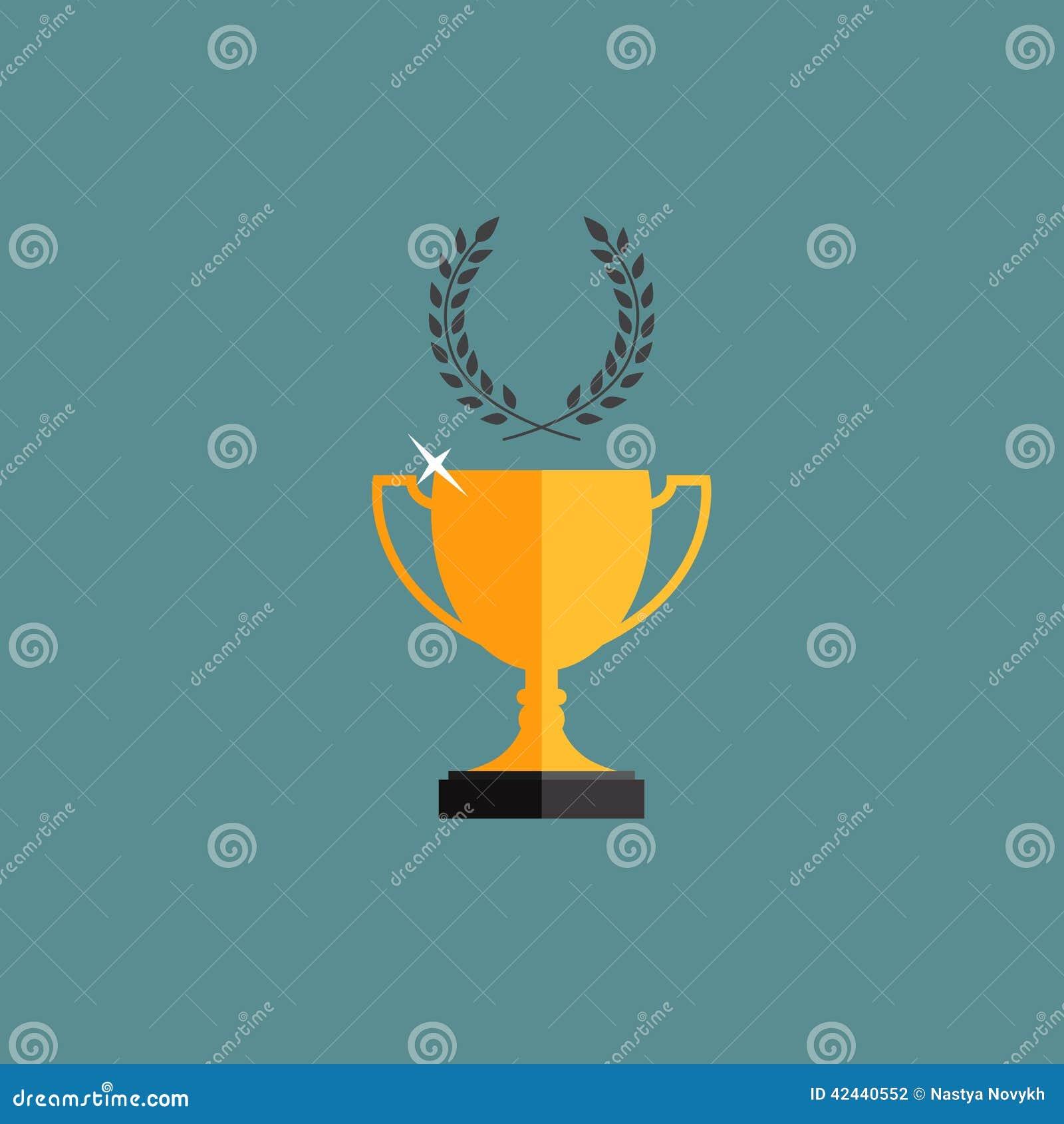 Ganador de la taza del trofeo del oro con una guirnalda del laurel