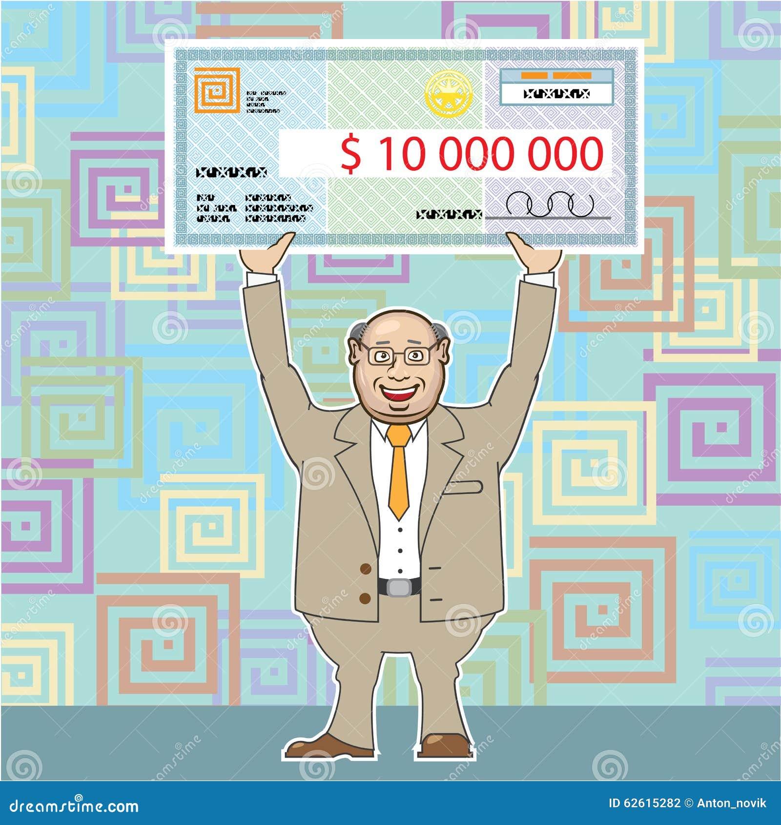Ganador de lotería 10M Holding un vector del control