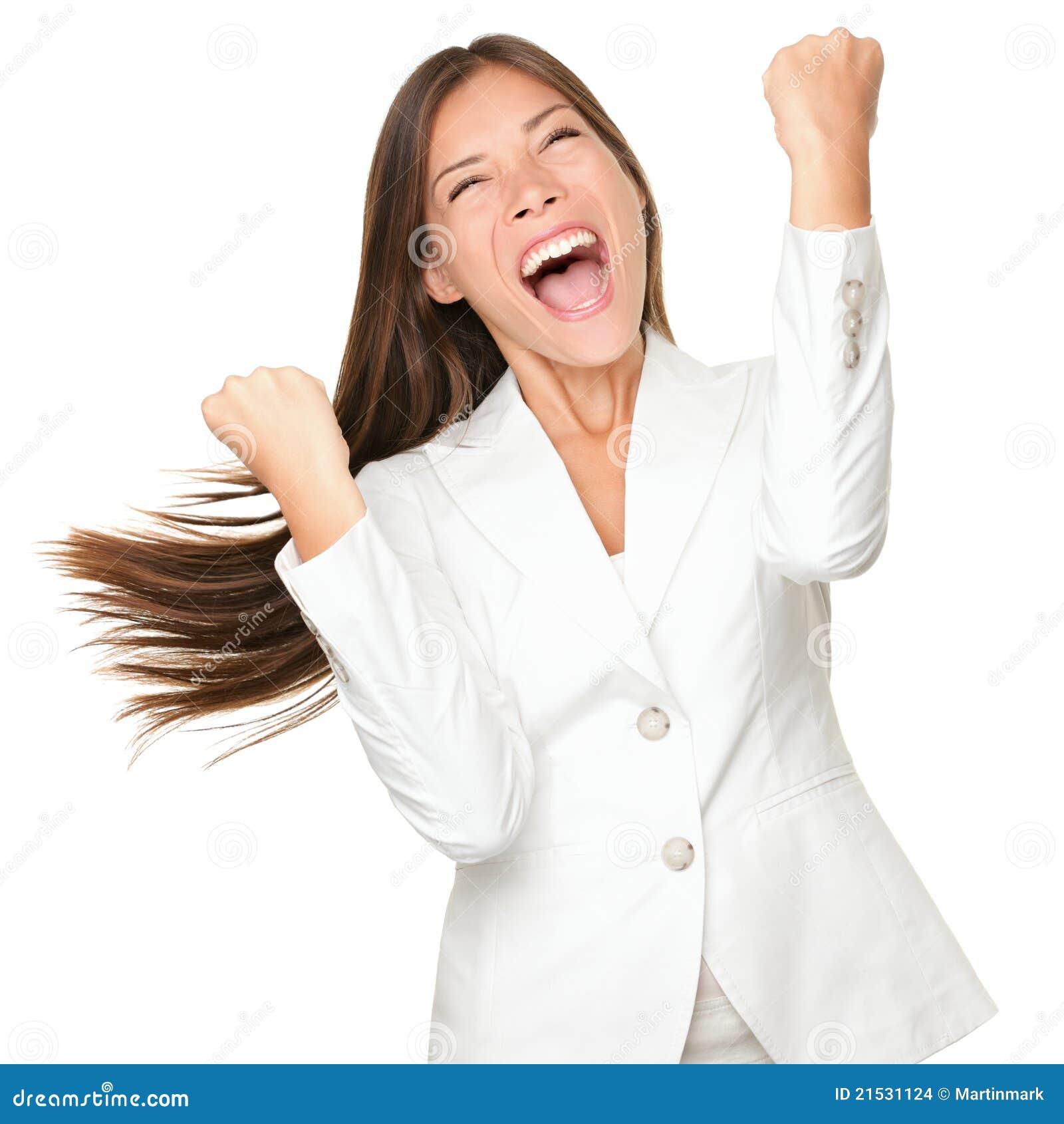Ganador feliz - mujer de negocios del éxito