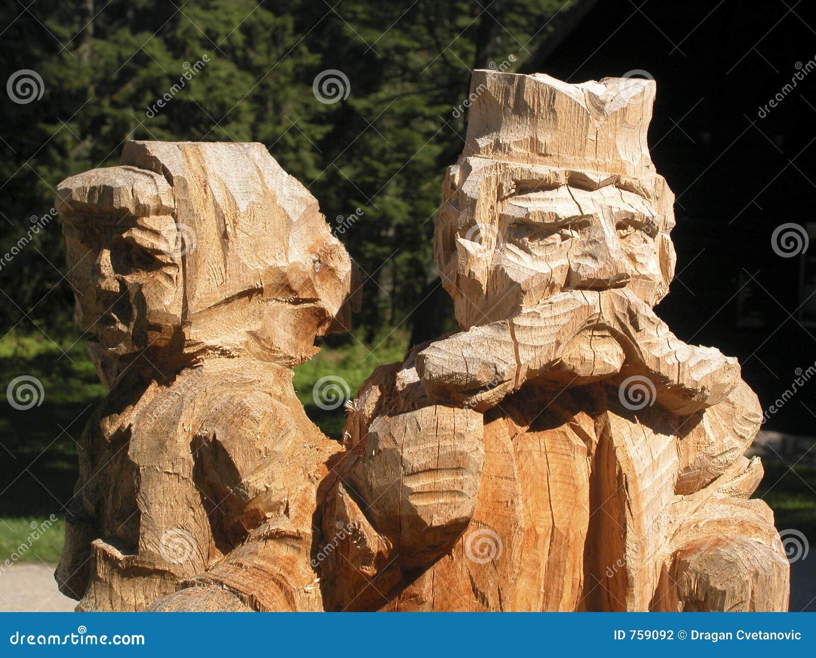 Ethno coarse woodwoork Gandmother and grandfather