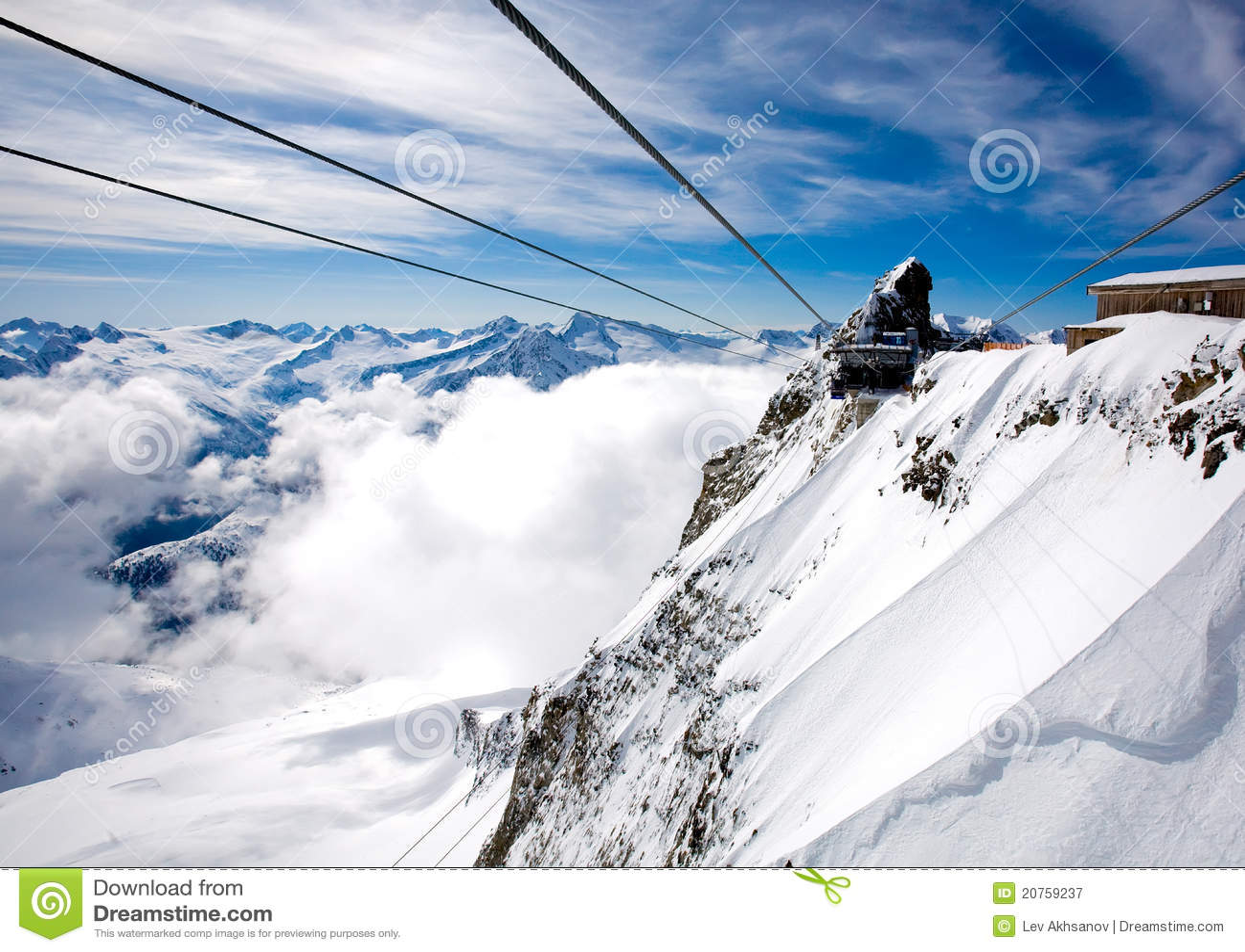 Hintertux Glacier Austria  city photo : Cables and gandola station at Hintertux Glacier in Zillertal, Austria.