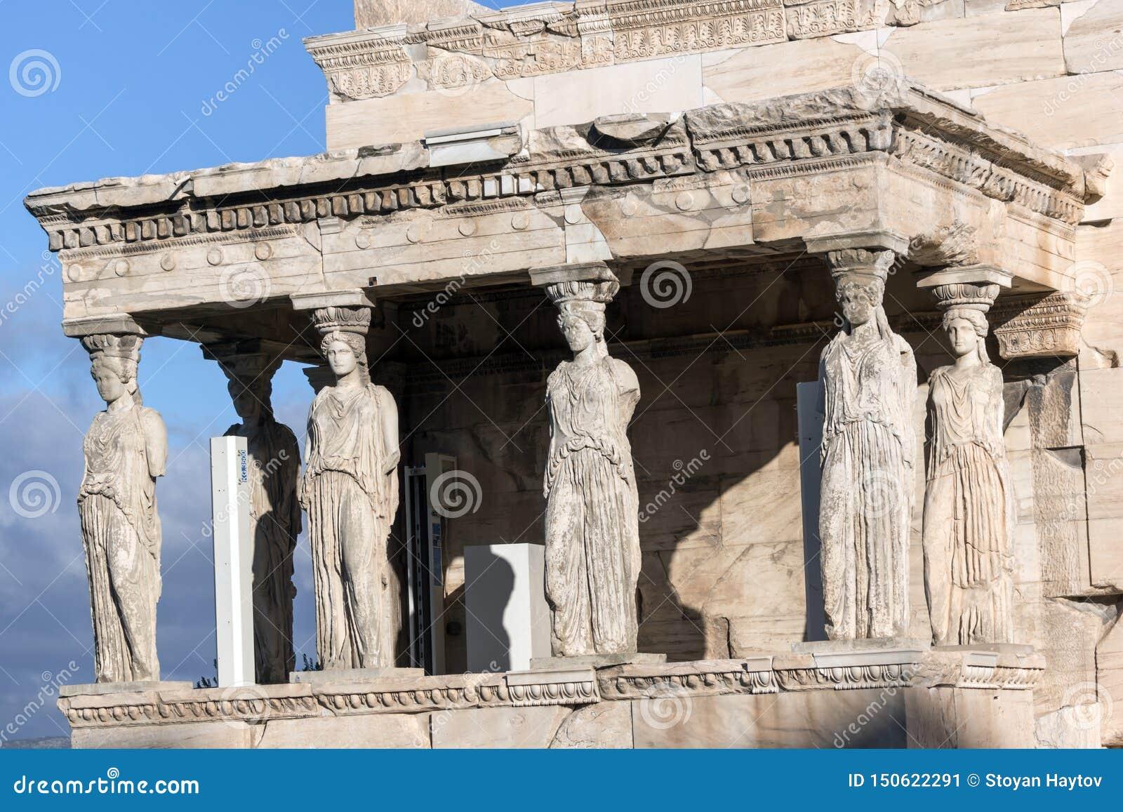 Ganeczek kariatydy w Erechtheion przy akropolem Ateny, Attica, Grecja