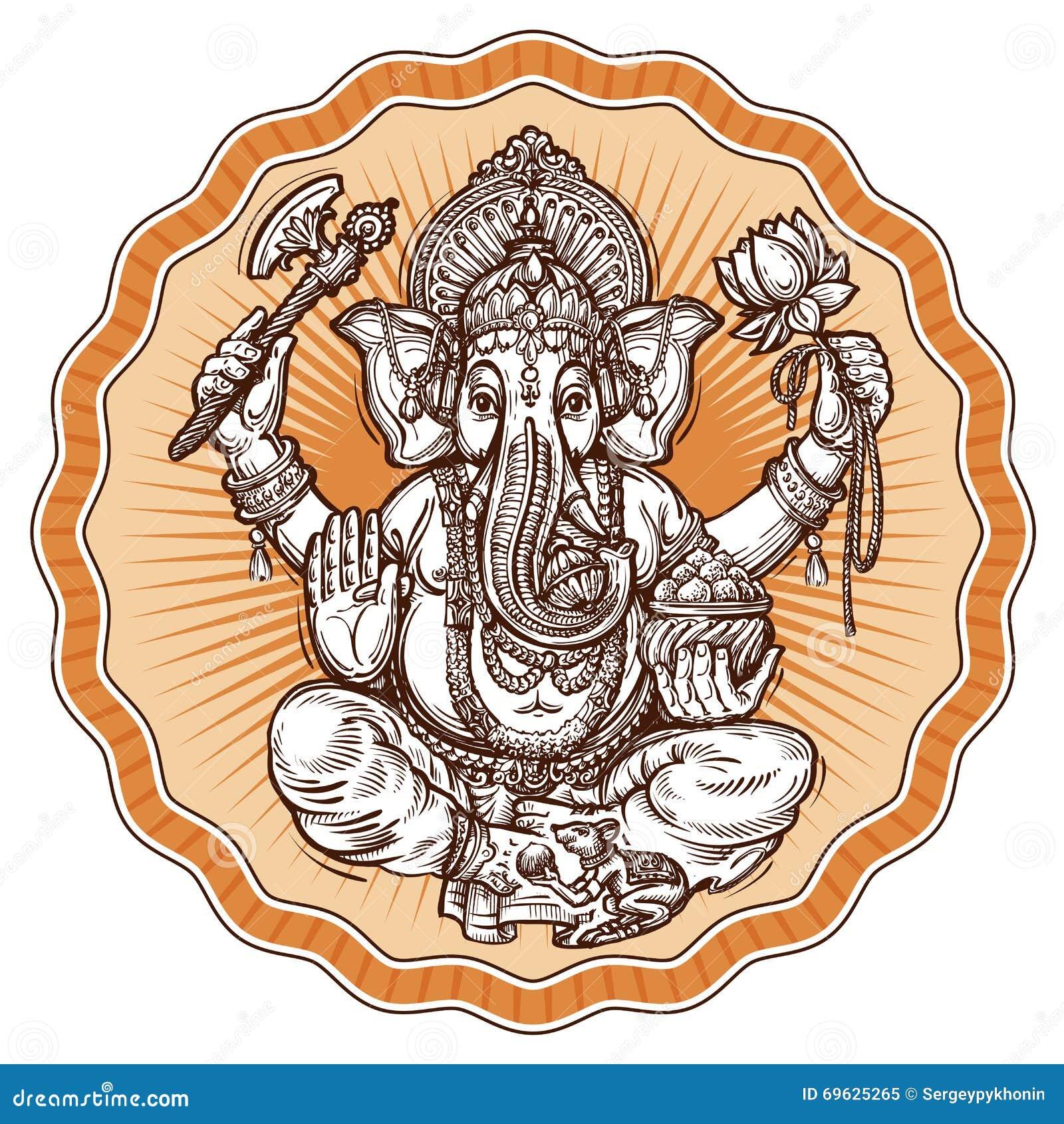 Ganesh Chaturthi. Hand-drawn Sketch Religious Symbol Of