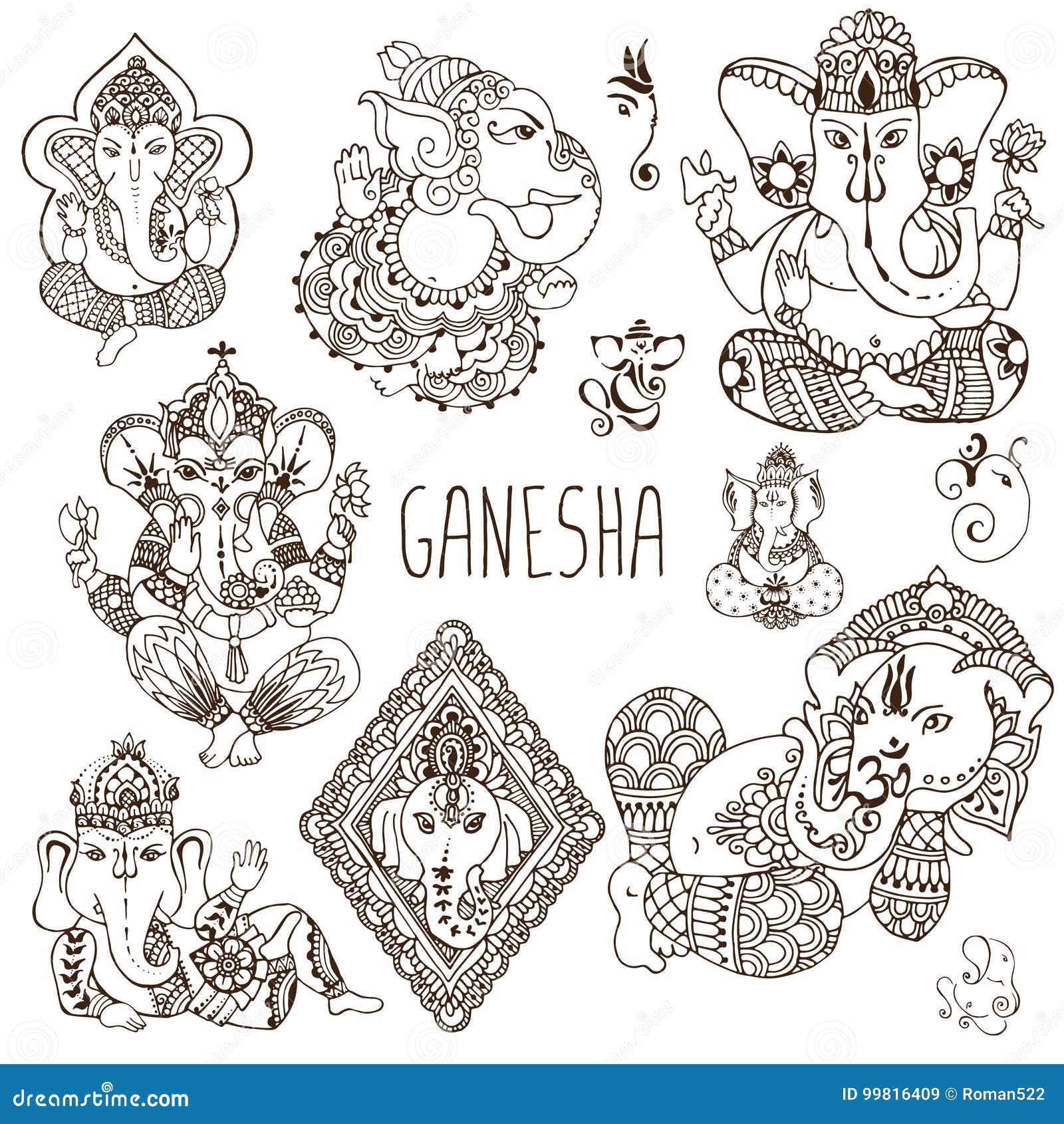 Ganesh En El Estilo Del Mehendi Ilustración del Vector - Ilustración ...
