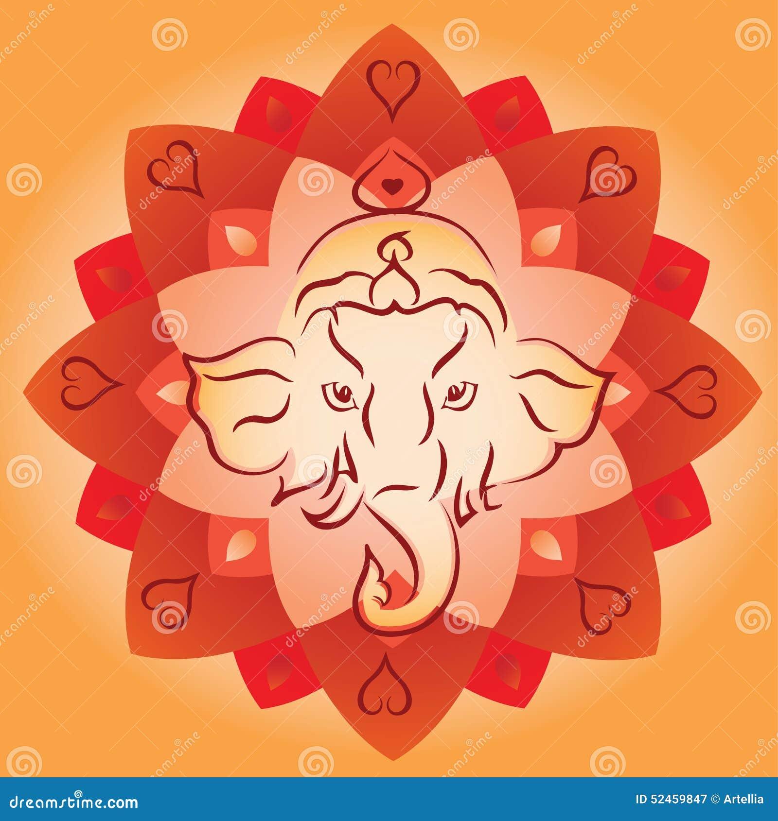 Ganesh Head på Lotus Mandala Background