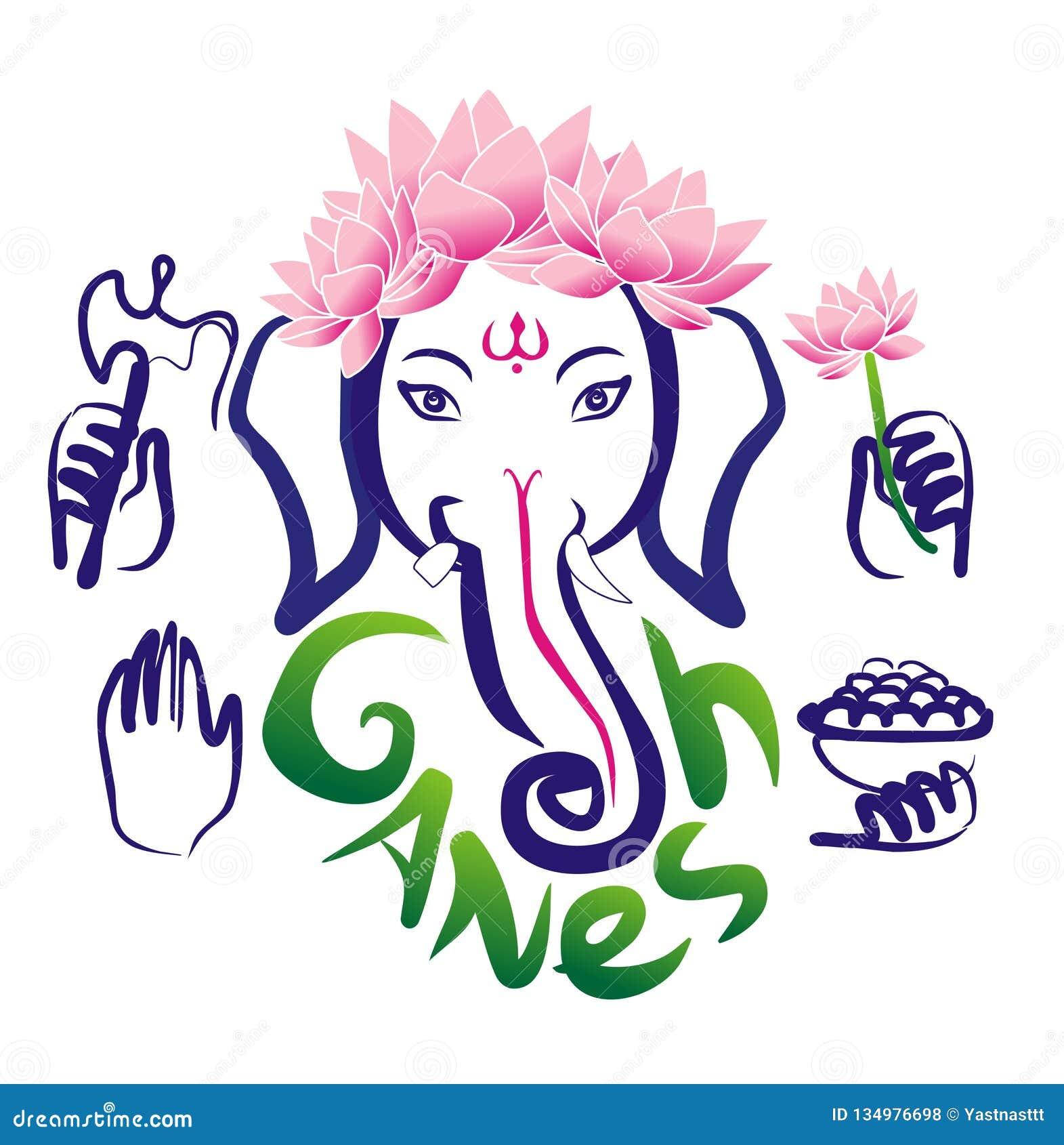 Ganesh And Lotus Flower Hinduism Stock Illustration Illustration