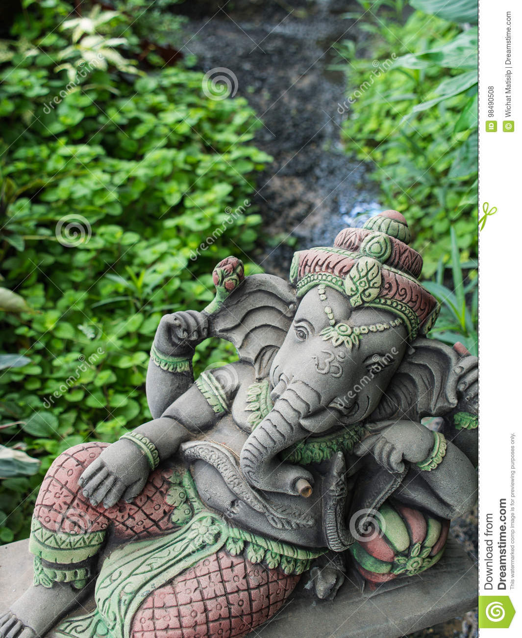 Download Ganesh Sitting In The Garden Stock Photo   Image Of Hands,  Decorative: 98490508