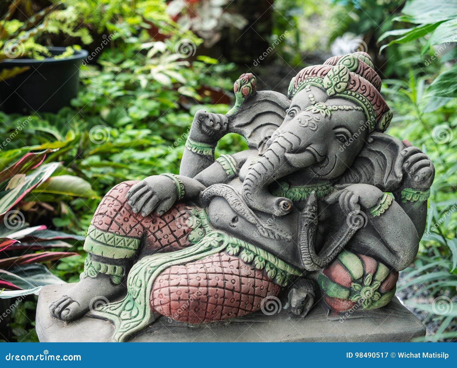 Ganesh Statue Sitting In The Garden