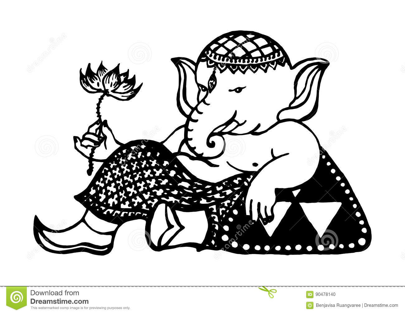 Ganesha God Of Success And Art Elephant Drawing Vector Hand Drawn