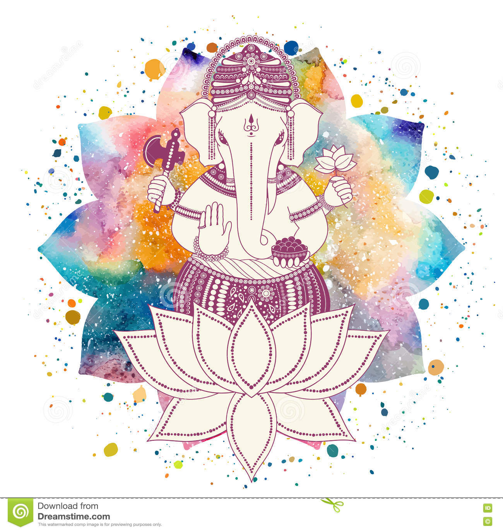 Ganesha God And Lotus Flower Stock Illustration Illustration Of