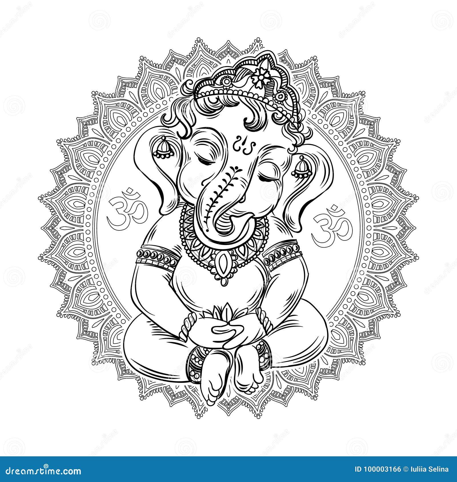 Ganesha Kleurend Boek Voor Volwassenen Stock Illustratie