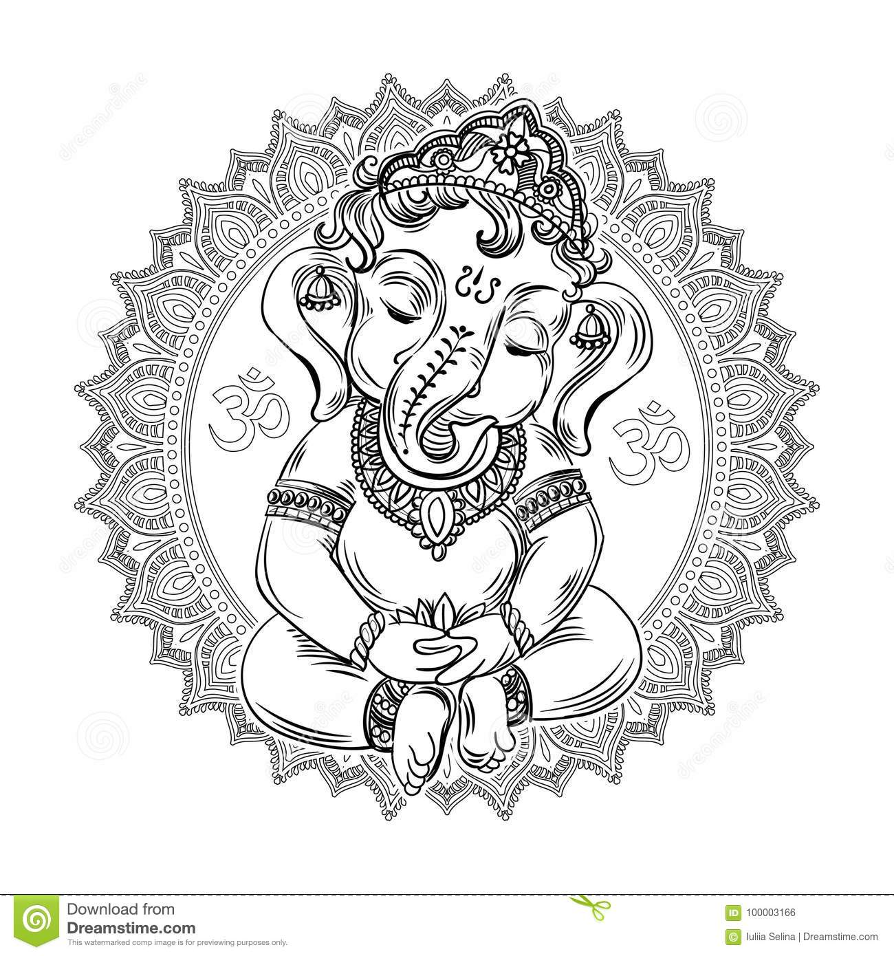Download Ganesha Coloring Book For Adults Stock Illustration