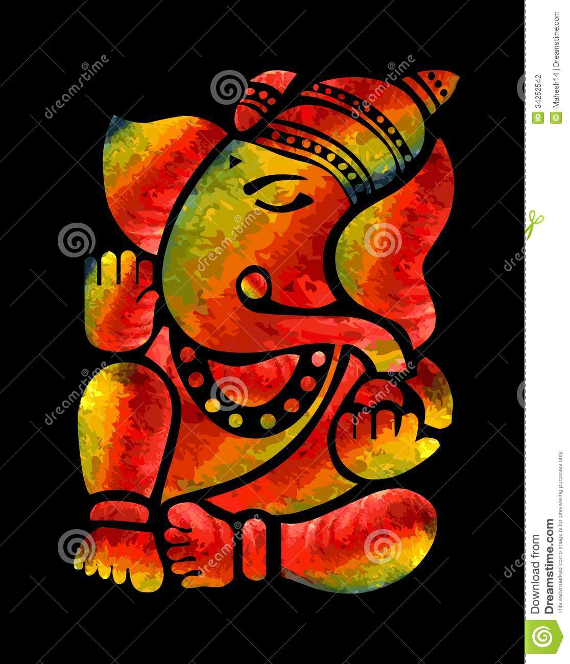 Lord ganesha multi color painting hd image - Ganesha God Hindu Multicolor Painting