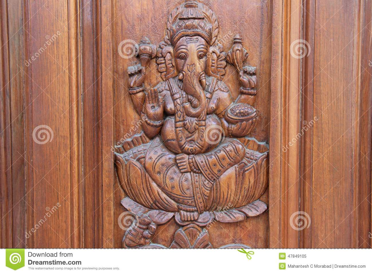 ganesha on teakwood door stock image image of engraving