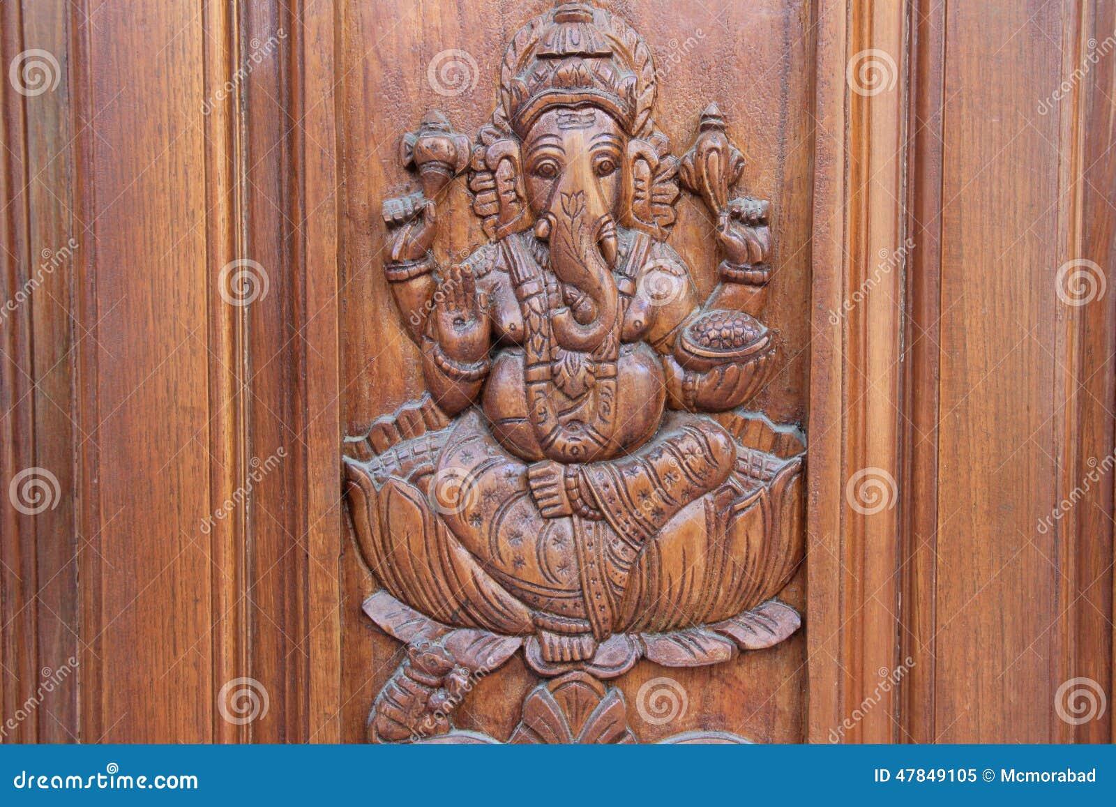 Ganesha On Teakwood Door Stock Photo Image 47849105