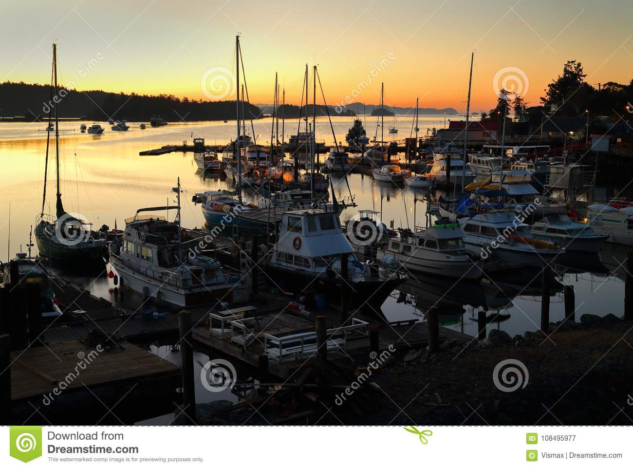 Ganges Harbor, Salt Spring Island Twilight Dawn