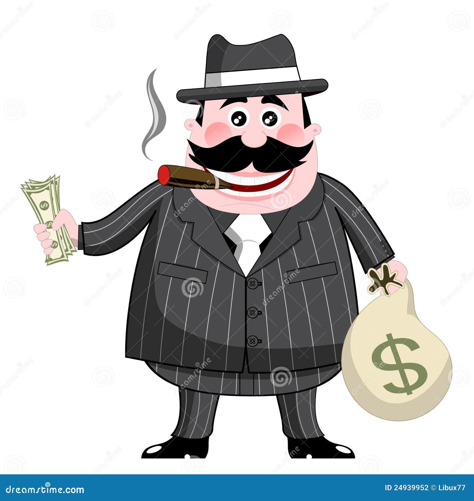 cartoon gangster isolated money cigar fat stock illustration rh dreamstime com gangster cartoon images free Gangster Looney Tunes